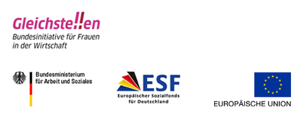 Die Logos der Miss MINT-Förderer: Bundesinitiative Gliechstellen, Bundesministerium für Arbeit und Soziales, Europäischer Sozialfond und Europäische Union