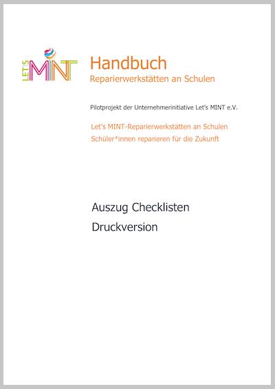Aufnahme vom Titelblatt der Checklisten zum Ausdrucken mit Let's MINT-Logo und Schriftzug aber ohne Fotos