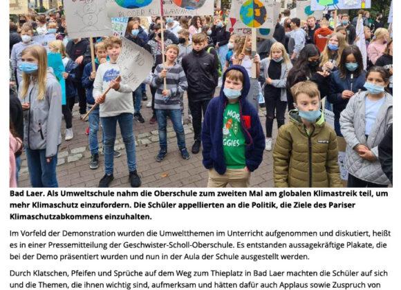 Geschwister-Scholl-Oberschule bei Fridays-for-future-Demo dabei